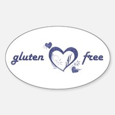 gluten free - hearts, denim Oval Decal