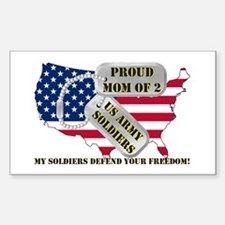 Proud Mom of 2 US Army Soldiers Decal