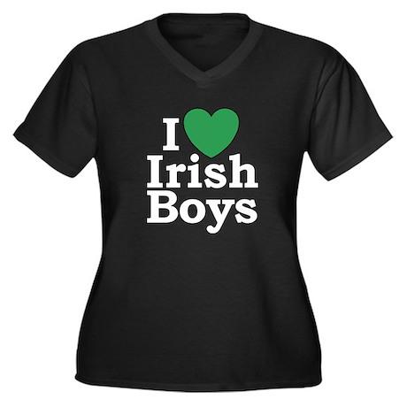 I Love Irish Boys Women's Plus Size V-Neck Dark T-Shirt ...