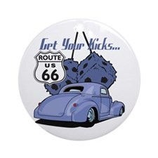 Dice Route 66 Hot Rod Ornament (Round)