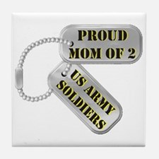 Proud Mom of 2 US Army Soldiers Tile Coaster