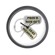 Proud Mom of 2 US Army Soldiers Wall Clock