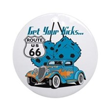 Dice Rt 66 Hot Rod Ornament (Round)