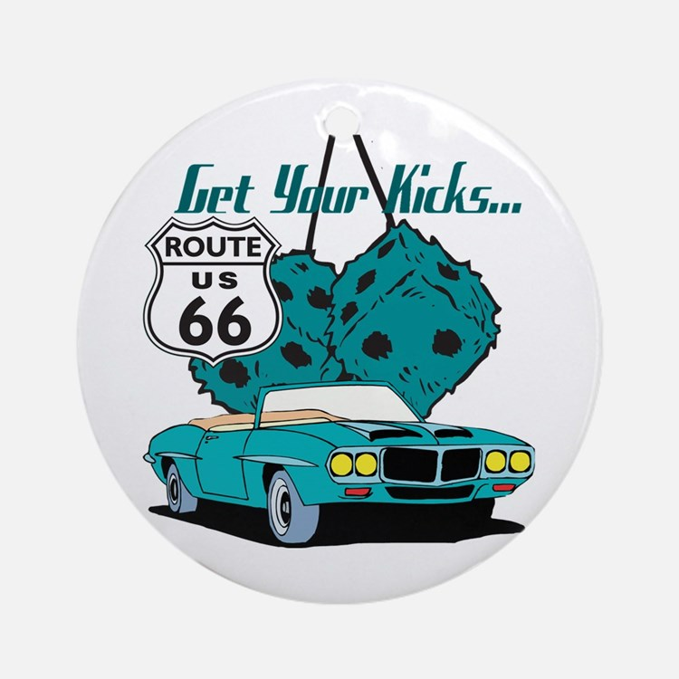 Blue Dice Route 66 Ornament (Round)