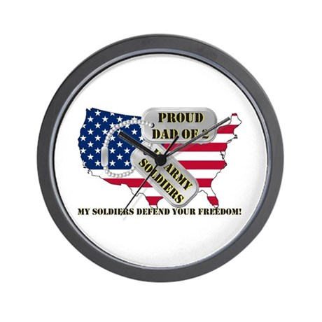 Proud Dad of 2 US Army Soldiers Wall Clock
