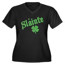 Slainte with Four Leaf Clover Women's Plus Size V-