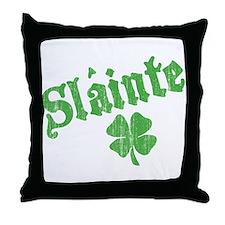 Slainte with Four Leaf Clover Throw Pillow