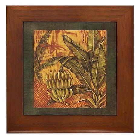 Banana Tree in Tropical Jungle Art Framed Tile