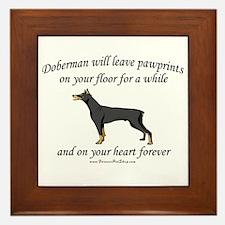 Doberman Pawprints Framed Tile