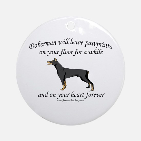 Doberman Pawprints Ornament (Round)