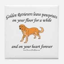 Golden Retriever Pawprints Tile Coaster