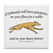 Greyhound Pawprints Tile Coaster