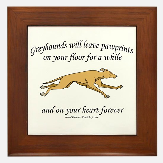 Greyhound Pawprints Framed Tile