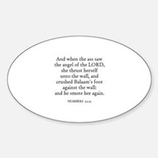 NUMBERS 22:25 Oval Decal