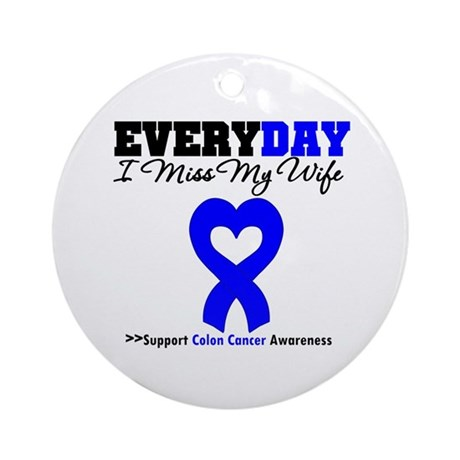 ColonCancerHeart Wife Ornament (Round)
