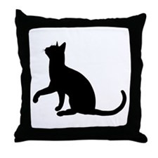 Black Cat Silhouette Throw Pillow