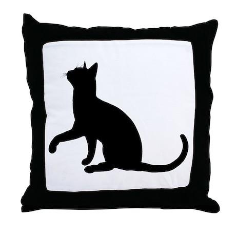 Black Cat Silhouette Throw Pillow