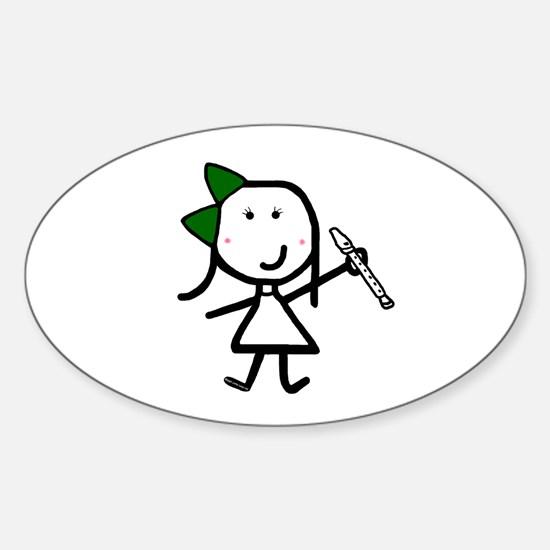 Girl & Recorder Oval Decal