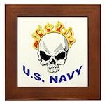 U.S. Navy Skull on Fire Framed Tile