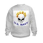 U.S. Navy Skull on Fire (Front) Kids Sweatshirt