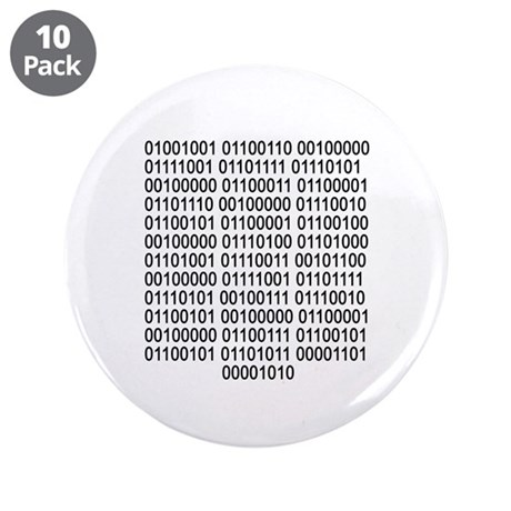 """If you can read - Binary code 3.5"""" Button (10 pack"""