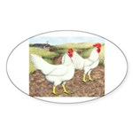 Chickens On The Farm Oval Sticker