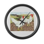Chickens On The Farm Large Wall Clock