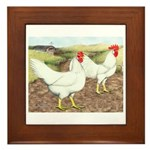Chickens On The Farm Framed Tile