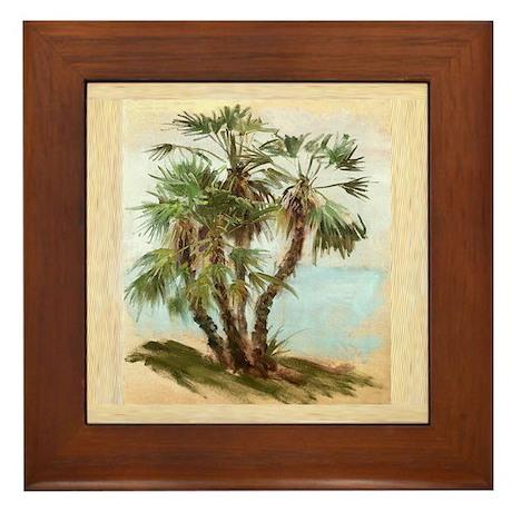 Tropical Palm Tree Art Framed Tile By Oshishop