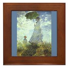 Claude Monet Art Framed Tile Woman with Parasol