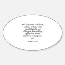 NUMBERS 22:16 Oval Decal