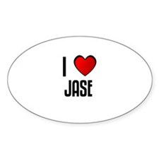 I LOVE JASE Oval Decal