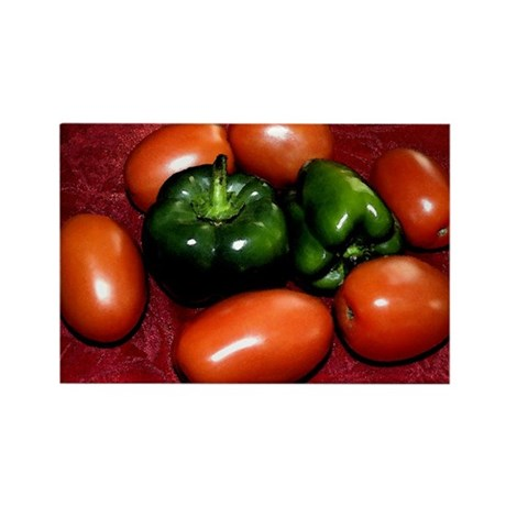Plum Tomatoes and Bell Peppers Rectangle Magnet