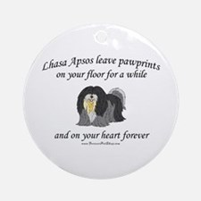 Lhasa Apso Pawprints Ornament (Round)