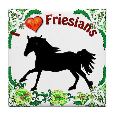 I Love Friesians Tile Coaster
