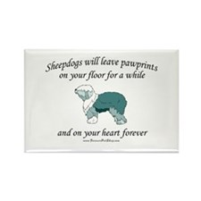 Sheepdog Pawprints Rectangle Magnet (10 pack)