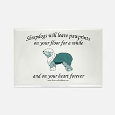 Sheepdog Pawprints Rectangle Magnet