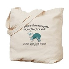 Sheepdog Pawprints Tote Bag