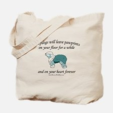 Sheepdog Pawprints Tote Bag