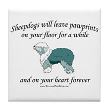 Sheepdog Pawprints Tile Coaster