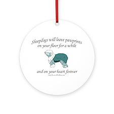 Sheepdog Pawprints Ornament (Round)