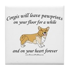 Corgi Pawprints Tile Coaster
