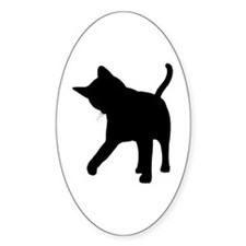Black Kitten Silhouette Oval Decal