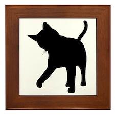 Black Kitten Silhouette Framed Tile