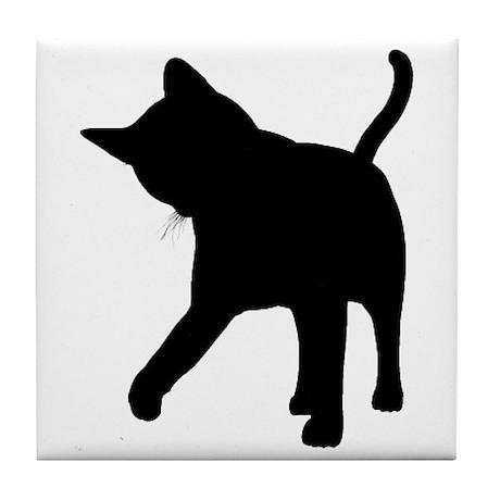 Black Kitten Silhouette Tile Coaster