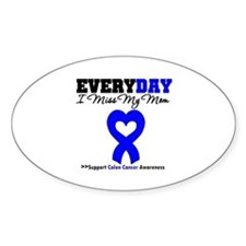ColonCancerHeart Mom Oval Decal