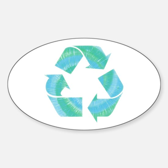 Tie Dye Recycle Oval Decal