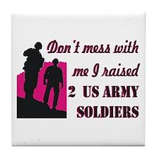 Cute Proud army mom Tile Coaster