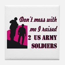 Cute Proud army mom tags Tile Coaster