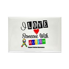 I Love Someone Autism Rectangle Magnet